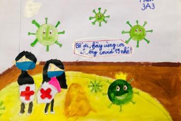 """Thiếu nhi vẽ tranh """"Bảo vệ sức khỏe và phòng chống dịch bệnh Covid-19"""""""